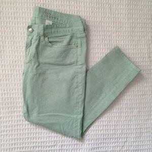 J. Crew Toothpick Jean garment-dyed twill mint 32